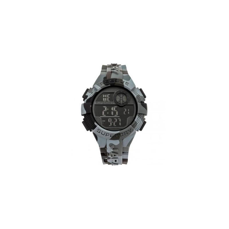dab3170034502 Montre digitale en résine, cadran noir, chrono, alarme, lumière, bracelet  silicone gris camouflage, étanche 50m