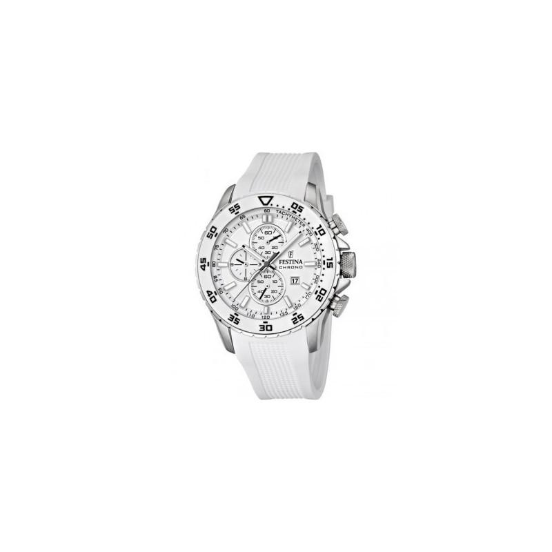 Boitier rond en acier, cadran blanc, bracelet silicone blanc, chrono,  étanche 100m. f33497b99d8c