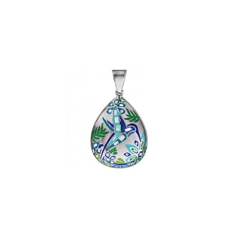 Stella Mia Pendentif Acier /& Nacre Bleu Colibri Oval-178643