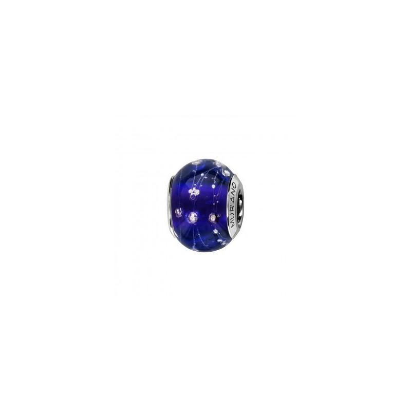 Thabora C05216 Charm Femme Argent rhodi/é et Verre de Murano Bleu