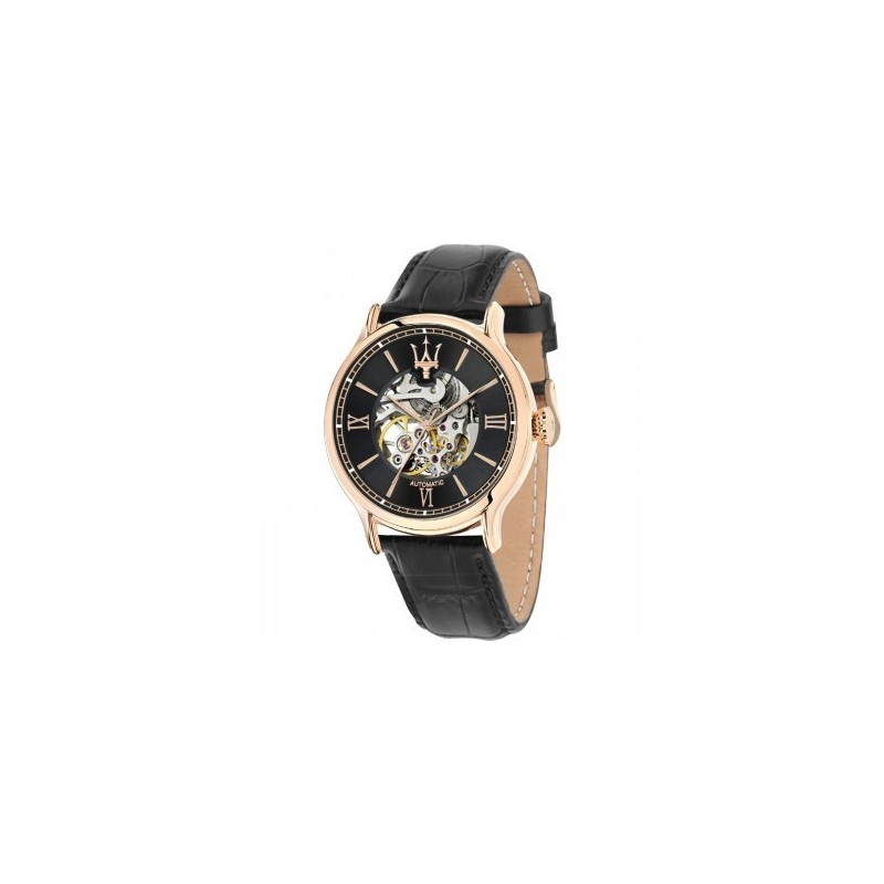 montre homme maserati epoca automatique cadran noir bracelet cuir noir r8821118001. Black Bedroom Furniture Sets. Home Design Ideas
