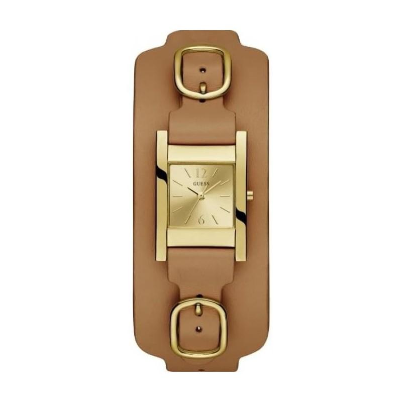 Boitier rectangulaire acier doré brillant 24mm, cadran doré, bracelet de  force cuir marron, étanche 30m 30d2dcb67334
