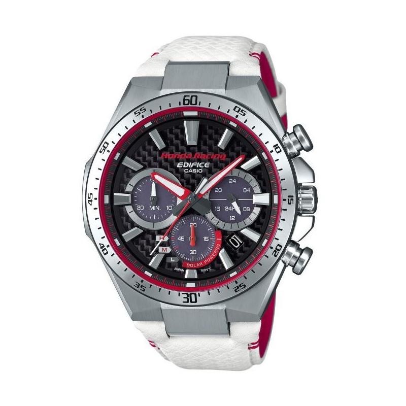 200fd656113531 Montre Homme casio analogique solaire Edifice série Honda Racing, boitier  rond 47mm, cadran carbone noir, bracelet cuir blanc et rouge, chrono,  dateur, ...