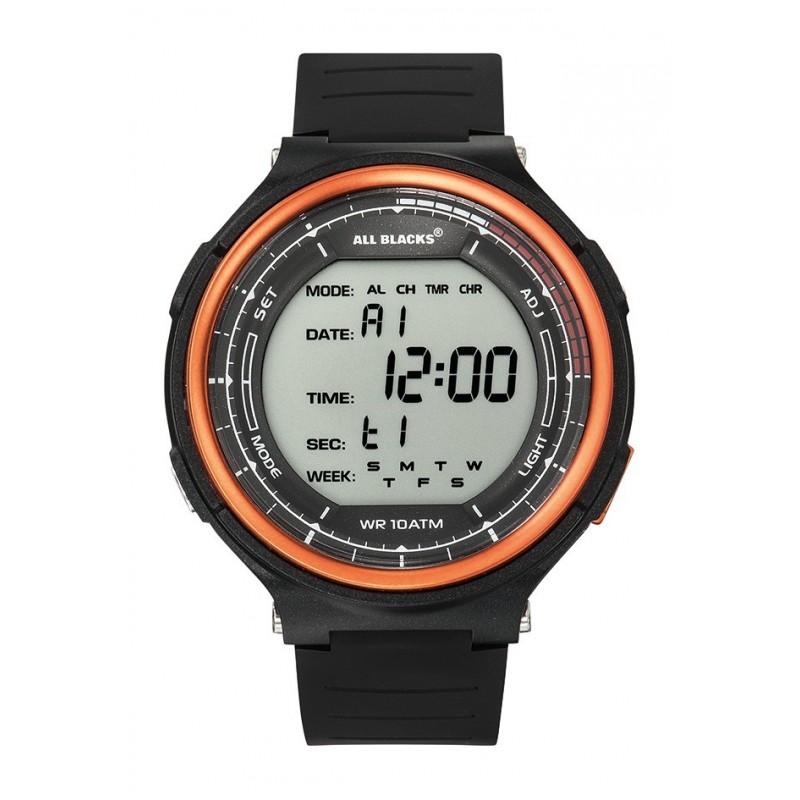 00f71dad286e4 Montre digitale, boitier rond en résine noir et lunette orange, chrono,  alarme, lumière, dateur, bracelet en résine noir, étanche 100m