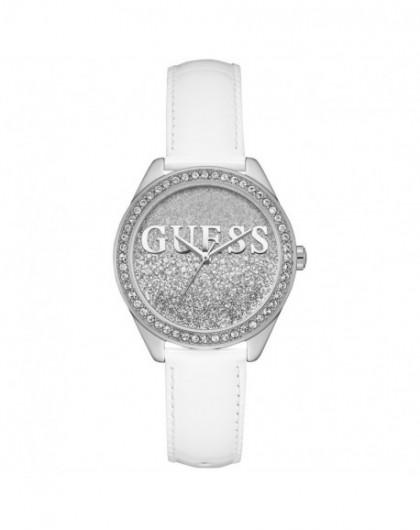 Montre Guess Glitter girl Femme acier cuir blanc W0823L1 - GPerduMesAiguilles.com