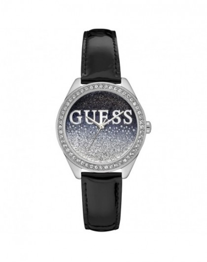 Montre Guess Glitter girl Femme acier cuir noir W0823L2 - GPerduMesAiguilles.com