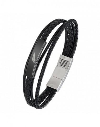 All blacks Bracelet Homme Acier et Cuir 682116 - GperduMesAiguilles.com