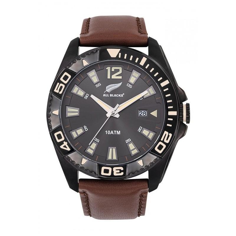 super populaire recherche de véritables pas cher à vendre All Blacks Montre Homme Acier Bracelet Cuir Marron-680452