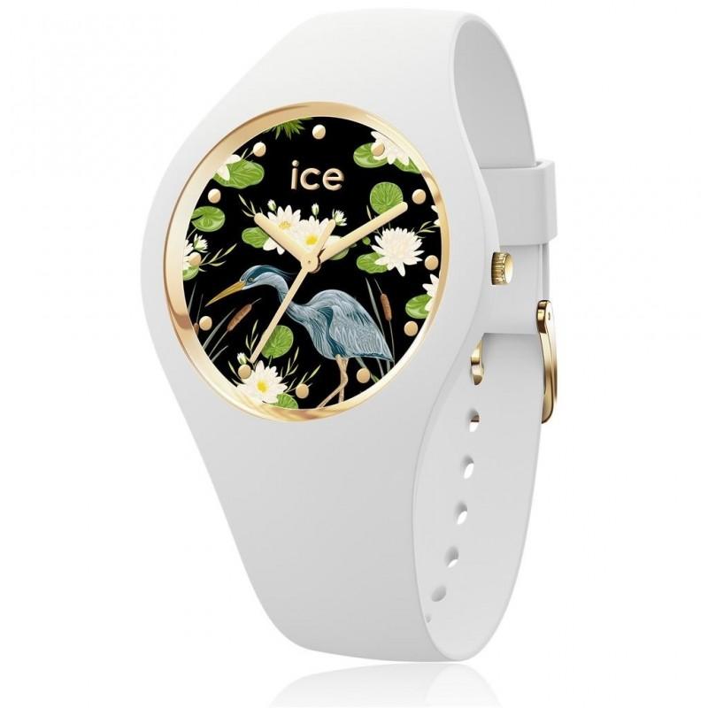 f731ee81fdef7 Boitier rond silicone blanc 40mm taille M, cadran blanc motif fleur, bracelet  silicone blanc, étanche 100m