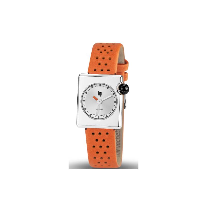 LIP Mach 2000 Mini Square Métal Montre Femme Bracelet Cuir Orange 671180