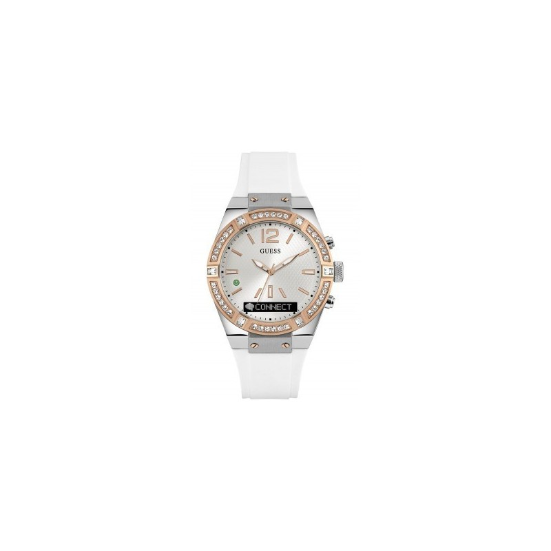 best wholesaler official shop so cheap Montre Guess Femme Connect Multifonction Silicone Blanc C0002M2