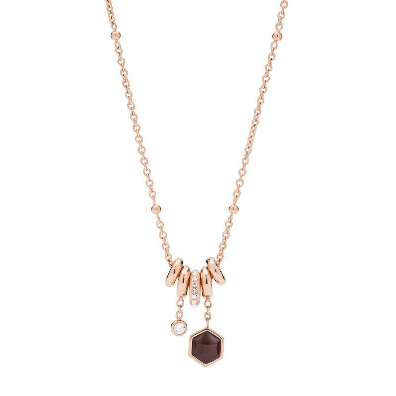 collier acier femme fossil