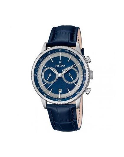 Montre Festina Homme Chrono Cuir Bleu F16893/6 Sport