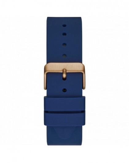 Guess Atlas Montre Homme Chrono Acier Doré Rose Silicone Bleu W1055G2