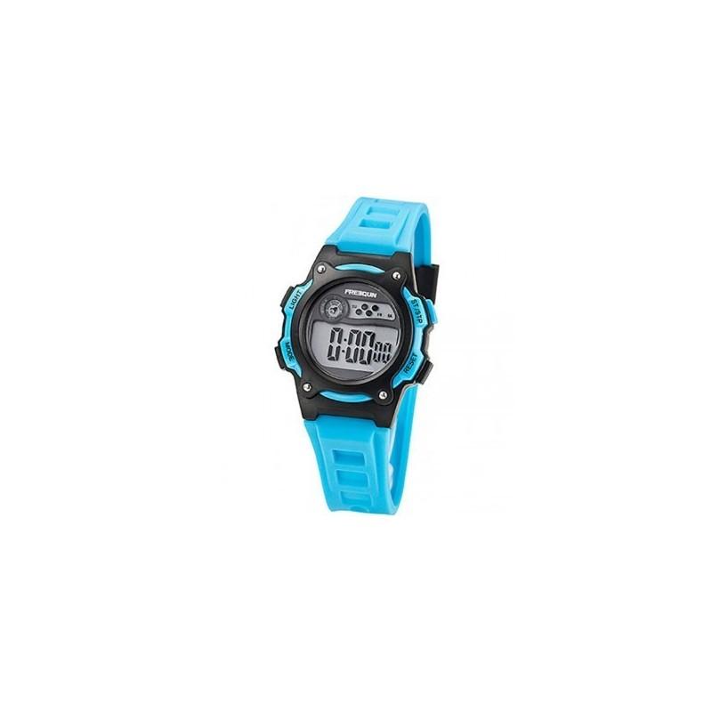 176f13f31b553 Boitier résine noir, cadran affichage LCD, chrono, alarme, lumière, bracelet  résine bleu, étanche 50m.