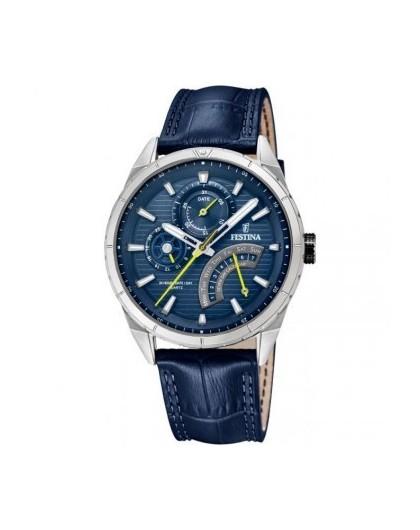 Montre Festina homme Multifonction acier cuir bleu F16986/2