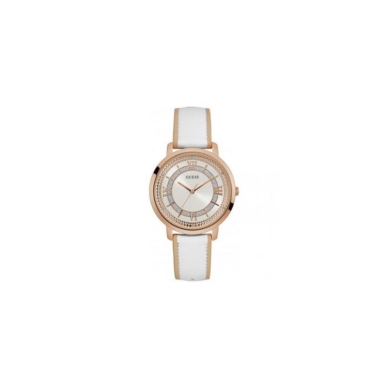 348b2fb294 Boitier rond en acier doré rose brillant, cadran blanc pailleté, bracelet  cuir blanc, étanche 30m.