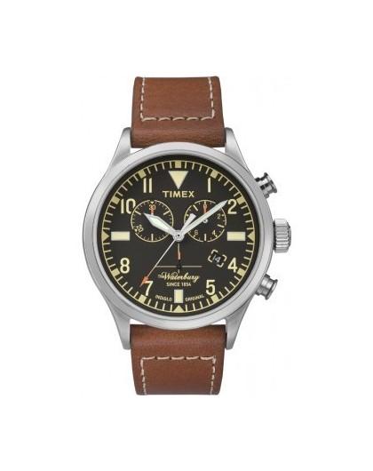 timex montre homme chrono acier cuir marron tw2p84300d7. Black Bedroom Furniture Sets. Home Design Ideas