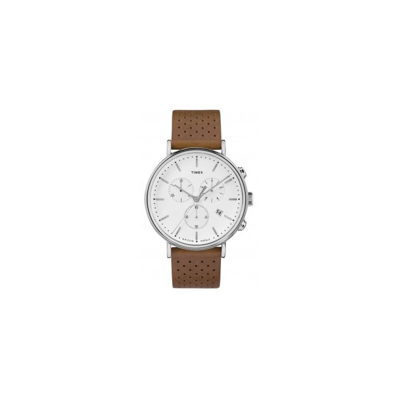 timex montre homme chrono acier cuir marron tw2r26700d7. Black Bedroom Furniture Sets. Home Design Ideas
