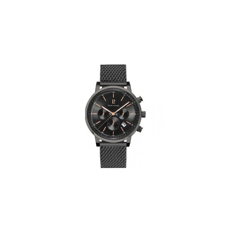 Montre analogique (3 aiguilles) 42mm, boitier rond en acier IP noir, cadran  noir, chronographe, dateur, bracelet en métal milanais noir, étanche 50m. a3080b9b5c1