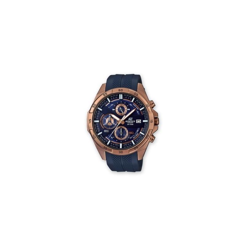 Montre homme Casio chrono analogique, boitier rond acier rosé, cadran bleu,  bracelet silicone bleu, étanche 100m b7c9b9195083