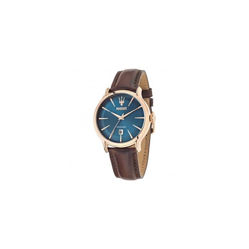 montre homme maserati epoca dateur cadran bleu sunray bracelet cuir marron r8851118001. Black Bedroom Furniture Sets. Home Design Ideas