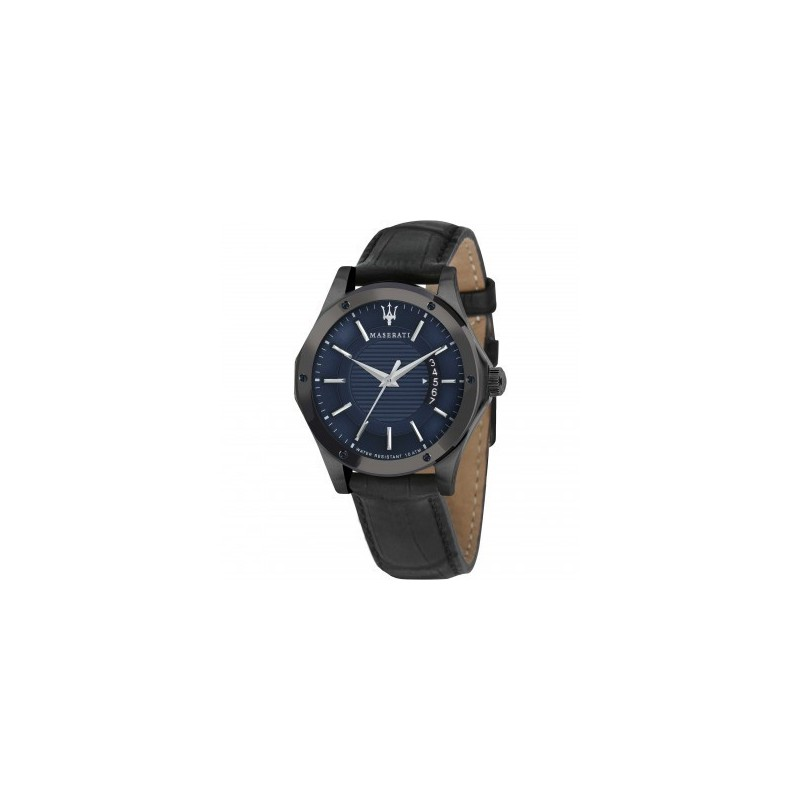 montre homme maserati circuito dateur cadran bleu sunray bracelet cuir noir r8851127002. Black Bedroom Furniture Sets. Home Design Ideas